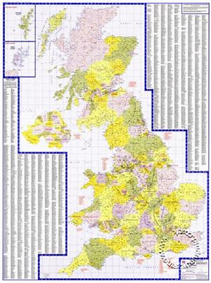 Great Britain Counties & Unitary Authorities Map - A-Z Folded Map