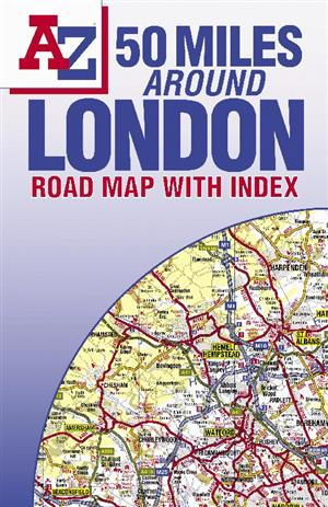 London, England, 50 Miles Around Road Map - A-Z Folded Map