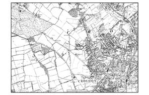 19th Century Map ( A1 Vinyl )- Centred on your post code, covering an area of 2km x 2.8km.  - Tiger