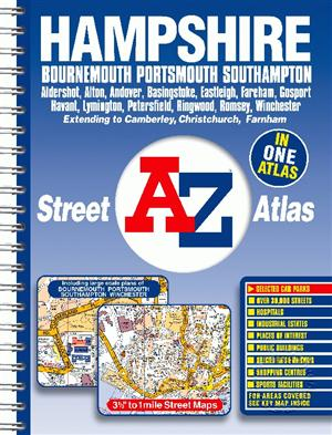Hampshire, England, County Street and Road Atlas, A-Z Map