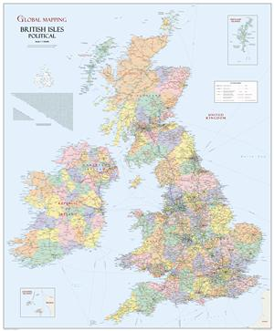 British Isles Political Wall Map, Large - Global Mapping