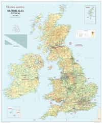 British Isles Physical Wall Map, Large -  Global Mapping