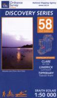 Clare, Limerick, Tipperary, Republic of Ireland, Discovery 58 Map