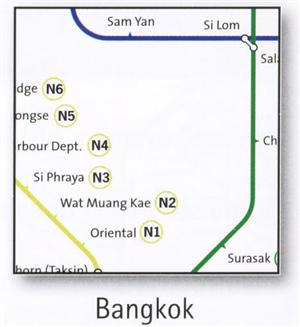Bangkok Transport Map, Thailand. Skytrain, Metro, Riverboat and Sububan Map