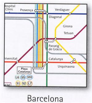 Barcelona Transport Map, Spain. Metro, Funicular and Tram Map