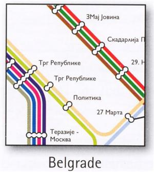 Belgrade Transport Map, Serbia. Tram and Trolleybus Map