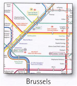 Brussels Transport Map, Belgium. Tram & Metro Map