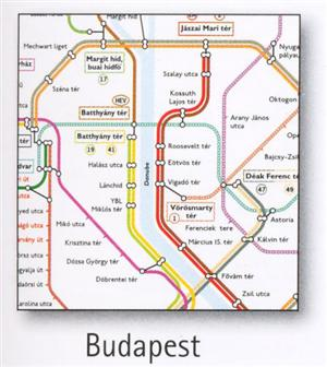 Budapest Transport Map, Hungary. Tram, Metro, Funicular and Children's Railway Map