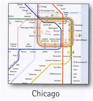 Chicago Transport Map, USA