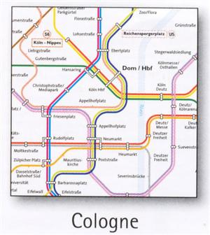 Cologne Transport Map, Germany. Tram, Metro, Funicular and Children's Railway Map