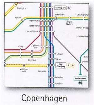 Copenhagen Transport Map, Denmark. Metro and Railway Map
