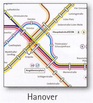 Hanover Transport Map, Germany. U-Bahn and S-Bahn Map