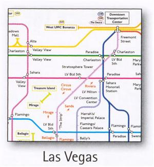 Las Vegas Transport Map, USA. Bus and Monorail Map