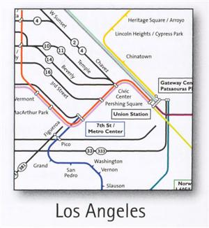 Los Angeles Transport Map, USA. Subway, Suburban and Airport bus Map