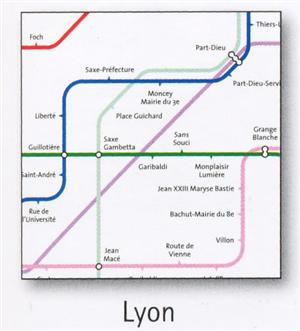 Lyon Transport Map, France. Tram, Metro, Funicular and SNCF Map