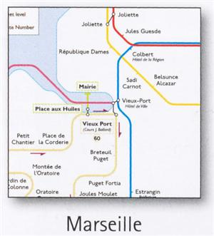 Marseille Transport Map, France. Metro, Tram, Ferry, SNCF and Airport Bus Map