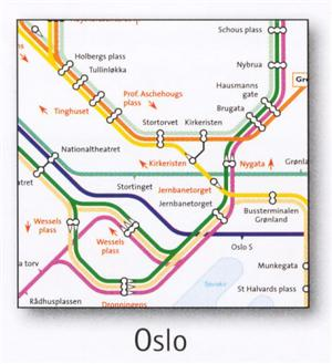 Oslo Transport Map, Norway. Tram and Metro Map