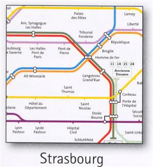 Strasbourg Transport Map, France. Tram and Bus Map