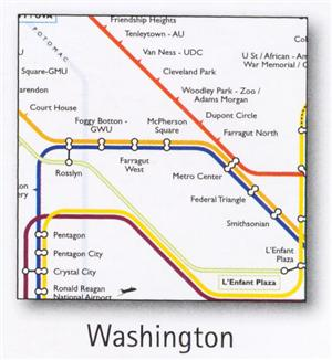 Washington Transport Map, USA. Subway and Suburban Map