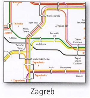 Zagreb Transport Map, Croatia. Tram Map