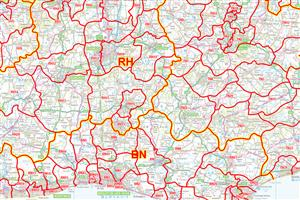 02 South East England - Postcode District Map - COLOUR