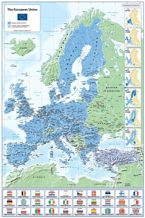 European Union Map (with flags), Matte Paper - Cosmographics