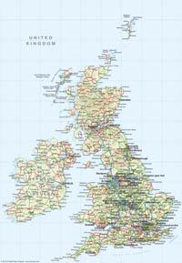 Great Britain 1:4 million Map - Digital Downloads - EPS, PDF and TIF file - XYZ
