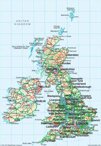 Great Britain Map 1:8 Million Map - Digital Download - EPS, PDF or TIF file - XYZ