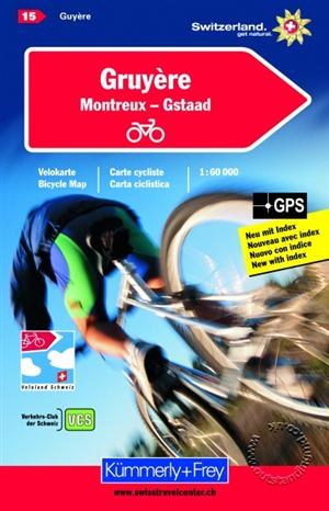 Gruyere / Montreux / Gstaad, Switzerland, Cycling Map Sheet 15 - Kummerly and Frey