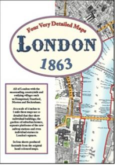 London, England, Street Maps 1863, Historical Maps - Old House Books