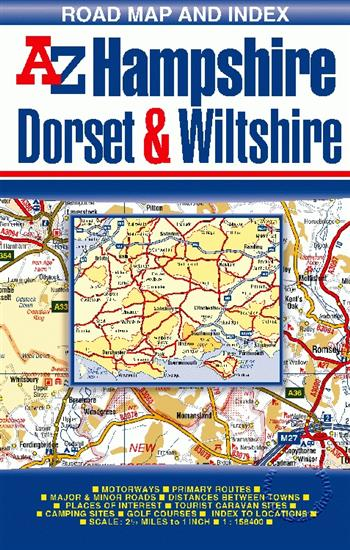 Map Of Uk Dorset.Hampshire Dorset And Wiltshire Road Map A Z Folded Isbn