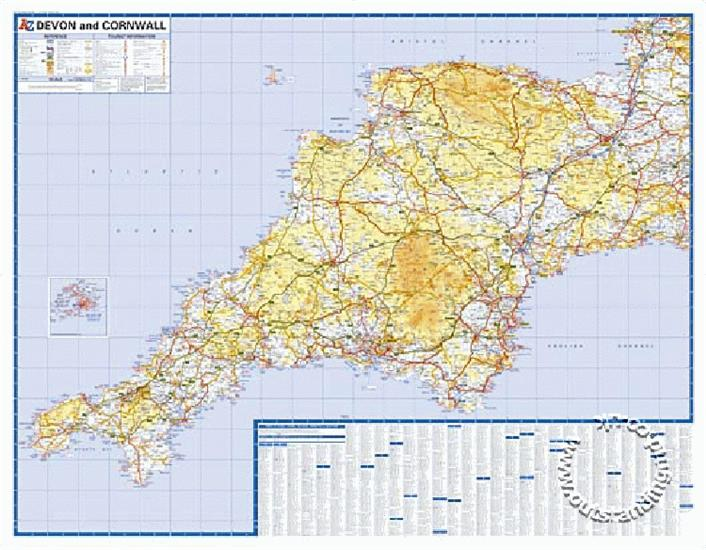 devon and cornwall road map a z flat map