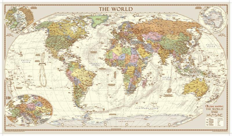 Antique style world map large award winning from global mapping gumiabroncs Images