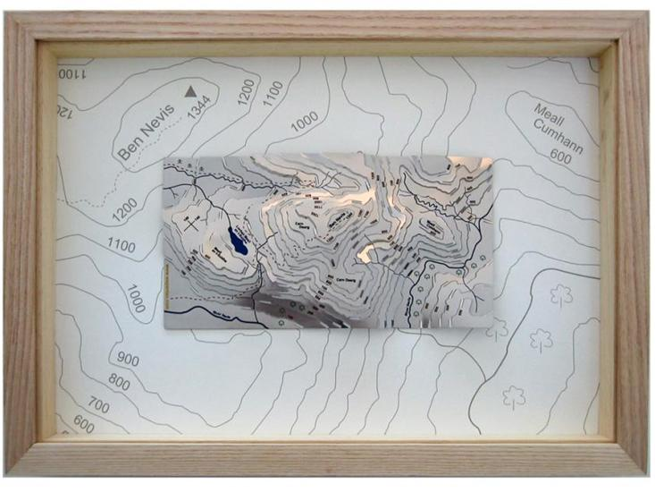 Ben Nevis Wapentac Relief Map Framed Natural Ash Frame