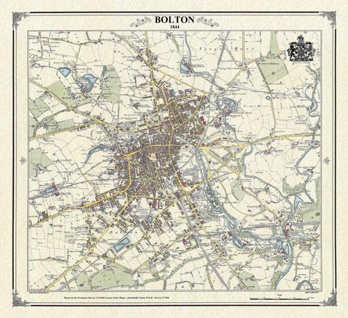 Bolton 1844 Victorian Town And Village Map Heritage Cartography