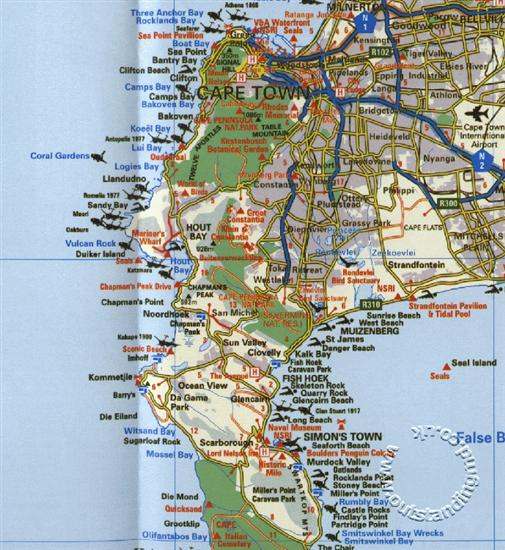 Cape Town And Surrounding Attractions Road Map South Africa Map