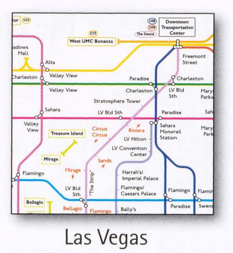 Las Vegas Transport Map USA Bus And Monorail Map  Map