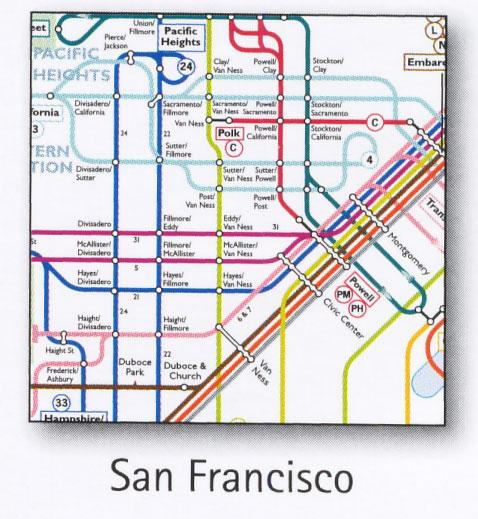 San Francisco Transport Map Usa Trolley Cable Car Tram Bart And