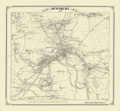Dewsbury 1847 Yorkshire Victorian Town and Village Map Heritage