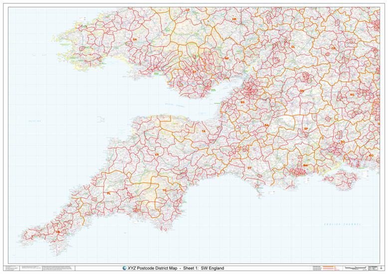 Sw Postcode Map D1 South West   Postcode District Map   COLOUR | Map Stop | Top