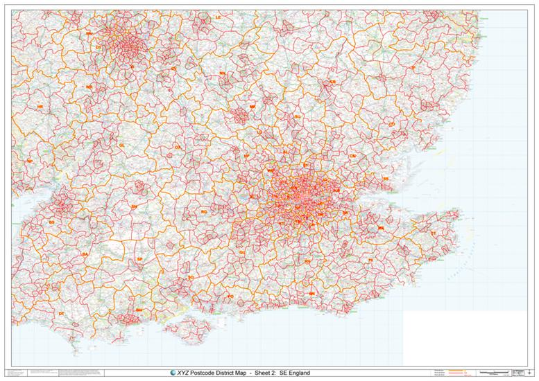 Map Of England To Colour.02 South East England Postcode District Map Colour Map Stop