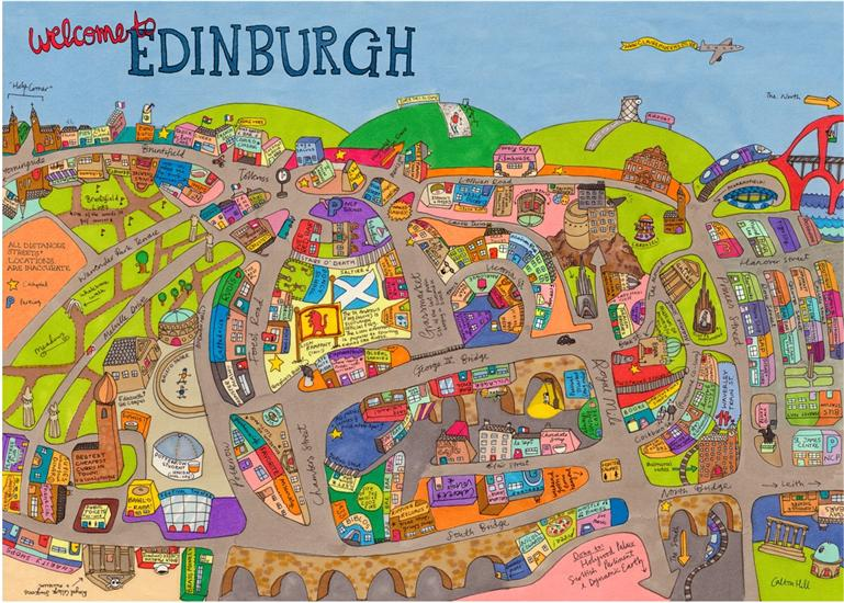 Map of Edinburgh Claire Murray Map Stop Top maps at a