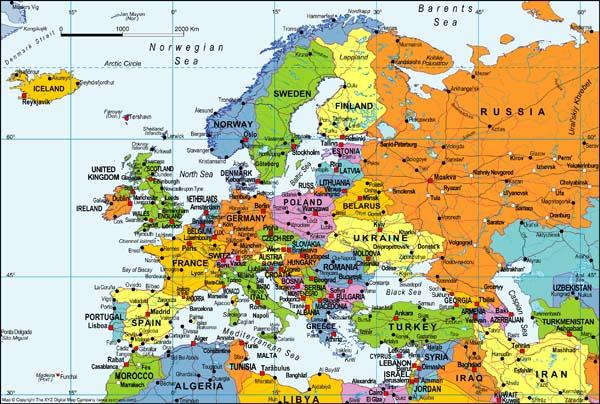 European Overview Map Digital Download XYZ Map Stop