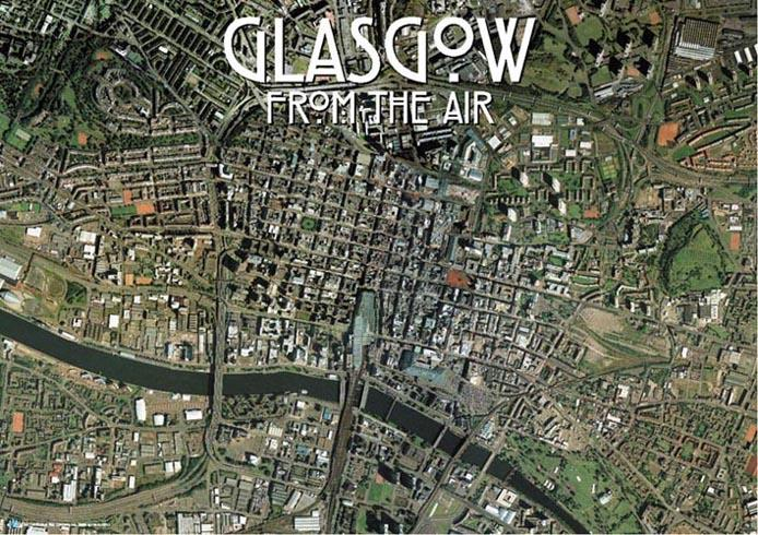SkyView Glasgow City Centre Aerial Photo Scotland Map Stop Top