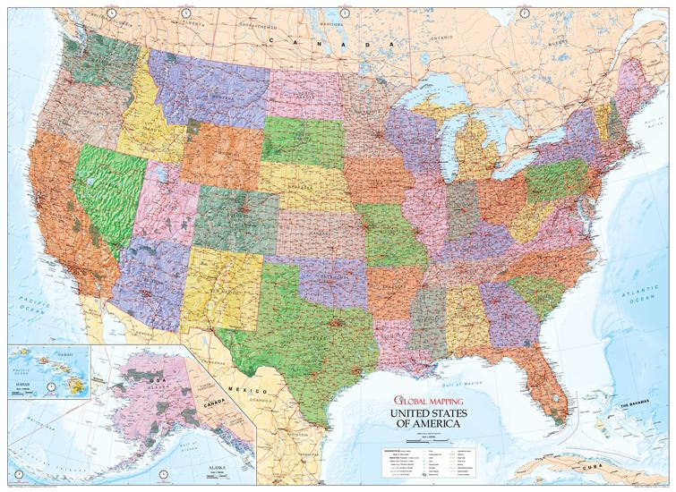United States of America Wall Map (USA)   Global Mapping (ISBN