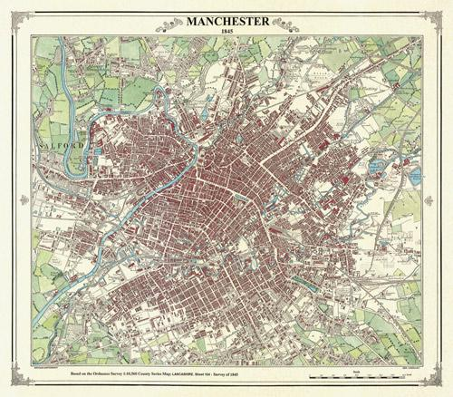 Manchester  Victorian Village And Town Map  Heritage