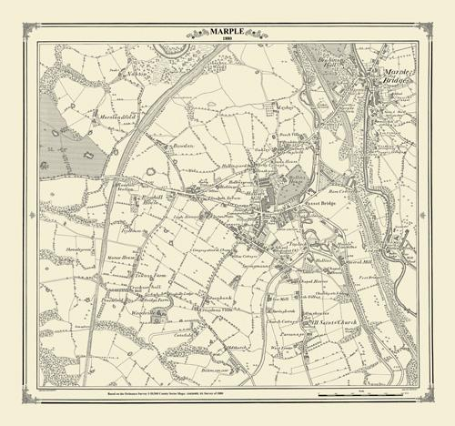 Marple 1880 Stockport Cheshire Victorian Village and Town Map