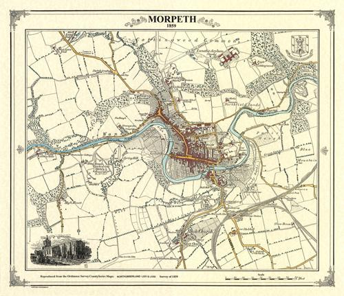 Map Of Victorian England.Morpeth England Victorian Town And Village Map Heritage