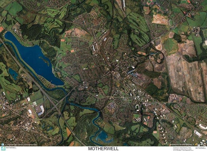Skyview Motherwell Aerial Photo Scotland Map Stop Top