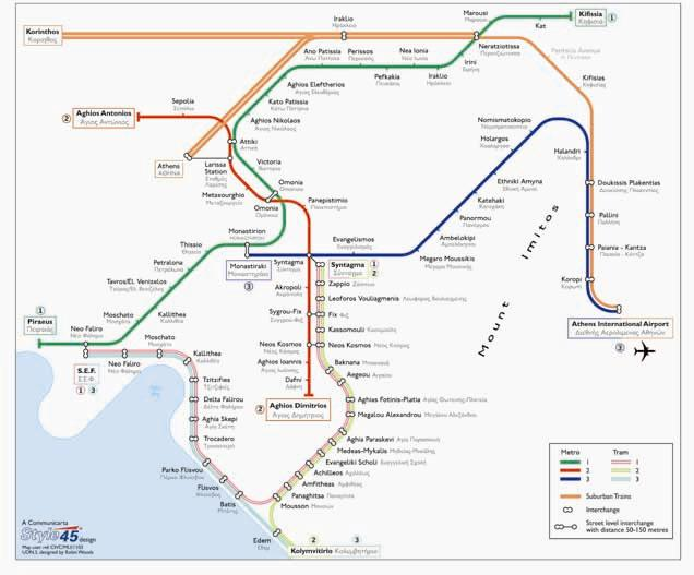 Athens Subway Map.Athens Transport Map Greece Tram And Metro Map Map Stop Top